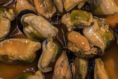 Detalj av inlagda musslor Arkivfoto