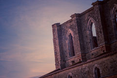 Detalj av inre av den San Galgano abbotskloster, Tuscany Royaltyfria Bilder