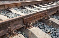 Detalj av järnvägsspår Arkivfoto