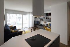 Detalj av kök med en sikt av vardagsrummet arkivfoton