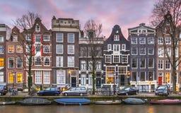Detalj av kanalhus på Brouwersgrachten i Amsterdam Royaltyfria Bilder