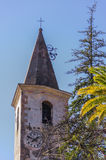 Detalj av klockatornet av Apricale Imperia, Liguria, Italien Royaltyfri Fotografi
