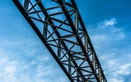 Detalj av konstruktionskranen mot blå himmel Arkivbild