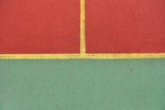 Detalj av korsade gula linjer på fotbolllekplats Detalj av Royaltyfria Foton