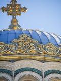 Detalj av kupolen på den sjö- domkyrkan i Kronstadt Ryssland Arkivbild