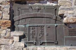 Detalj av monumentet den första stadsbyggmästaren Royaltyfri Bild