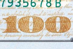 Detalj av nyligen designen U S billdollar hundra en Royaltyfria Foton