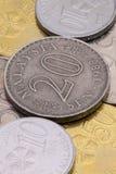 Detalj av olika mynt för malaysisk ringgit Arkivfoton
