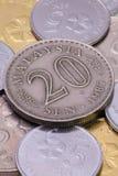 Detalj av olika mynt för malaysisk ringgit Arkivbilder