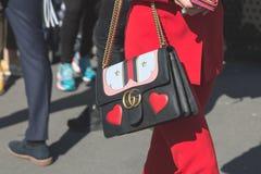 Detalj av påsen på veckan för mode för Milan Women ` s Arkivfoto