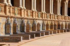 Detalj av Palacio Espanol i Seville, Spanien arkivbilder