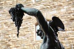 Detalj av Perseus med huvudet av medusaen, Florence Arkivfoto