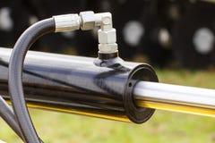 Detalj av pneumatiskt eller hydrauliskt maskineri som g?ras av st?l-, teknologi- och teknikbegrepp royaltyfri foto