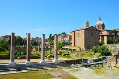 Detalj av Roman Forum, Rome Italien Foro Romano arkivbilder