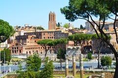 Detalj av Roman Forum, Rome Italien Foro Romano arkivfoton