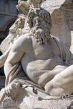 Detalj av Roman Fountain i den piazzaNavona fyrkanten, Rome, Italien. Arkivfoton