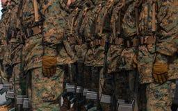Detalj av rustningen av Militar i en ståta Mycket av patriotism med ett slut upp teknik Royaltyfri Fotografi