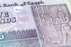 Detalj av sedeln för egyptiskt pund 5 arkivfoton