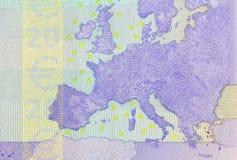Detalj av sedeln för euro 20 Arkivbild