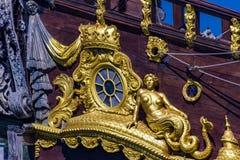Detalj av spansk gallion Neptun i Genoa Port, Italien Royaltyfria Foton