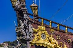 Detalj av spansk gallion Neptun i Genoa Port, Italien Royaltyfri Bild