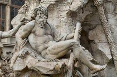 Detalj av springbrunnen av fyra floder i Rome, Italien fotografering för bildbyråer