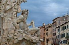 Detalj av springbrunnen av fyra floder i Rome, Italien royaltyfria bilder