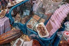 Detalj av ståndet från TEGELSTEN AV RÅTT på den Chocoa chokladfestivalen 2018 in royaltyfria bilder
