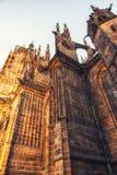 Detalj av St Vitus Cathedral i Prague, Tjeckien Fotografering för Bildbyråer