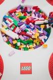 Detalj av tegelstenar på Lego Village i Milan, Italien Royaltyfria Bilder