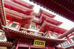 Detalj av templet för Buddhatandrelik i den Kina staden Singapore Arkivfoto