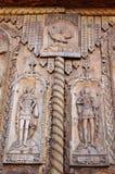 Detalj av trädörren på Cocos kloster, Dobrogea, Rumänien Arkivfoto