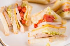 Detalj av trefaldiga Decker Sandwich Royaltyfri Bild