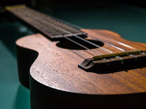 Detalj av ukulelet med grunt Arkivbild