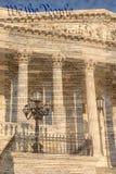 Detalj av USA-Kapitoliumbyggnaden i Washington D C med berömd förklaring royaltyfria bilder