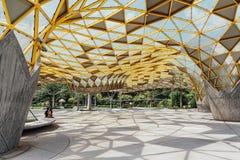 Detalj för överkant för diamantformtak av den trädgårds- paviljongen i botaniska trädgårdar för Kuala Lumpur ` s Perdana i Jalan  fotografering för bildbyråer