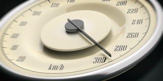 Detalj för closeup för hastighetsmätare för tappningbilmått, svart bakgrund illustration 3d Fotografering för Bildbyråer
