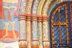 Detalj för Dormition kyrkafasad kremlin moscow UNESCOarv Arkivbild