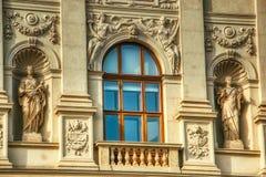 Detalj för fönster Prague för nationellt museum arkivfoton