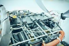 Detalj för flygplanmotor Stycke av utrustning av flygplanenginen royaltyfri foto