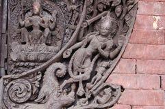 Detalj för hinduisk tempel i Kirtipur, Nepal arkivfoto