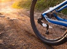Detalj för hjulmountainbikecykel Fotografering för Bildbyråer
