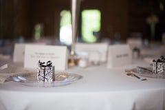 Detalj 2 för inställning för ställe för bröllopmottagande Arkivfoto