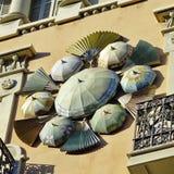 Detalj för LaRambla arkitektur utsmyckat byggande royaltyfri bild