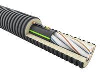 Detalj för optisk kabel för fiber - 3d att framföra isolerad vit arkivbilder