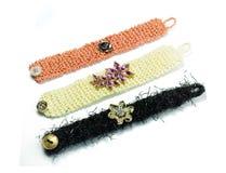 Detalj för smycken för ullarmband handgjord Royaltyfri Foto
