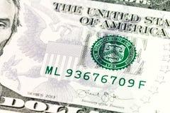 detalj för 5 us-dollar sedelavers royaltyfri fotografi