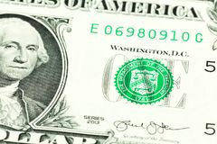 detalj för 1 us-dollar sedelavers royaltyfri foto