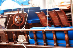 Detalj för Wodden vitangeyacht Royaltyfria Bilder