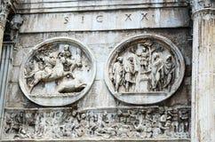Detalj från bågen av kejsaren Constantine Royaltyfri Fotografi